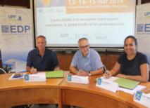 De gauche à droite : Jean-Paul Peillex, président du pôle de compétitivité Tahiti Fa'ahotu, Alban Gabillon, directeur de l'École doctorale du Pacifique et Moeana Heimata, responsable développement RH EDT ENGIE.