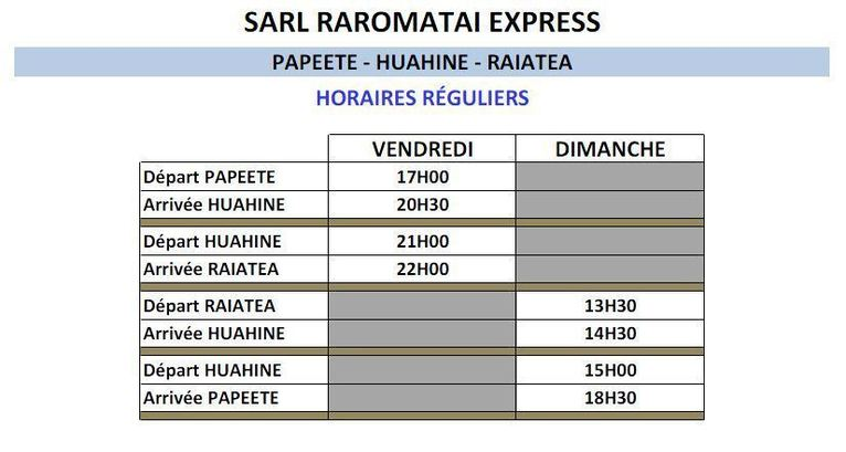 Raromatai : Horaires et tarifs de l'aremiti 4, rotations Papeete-Huahine-Raiatea