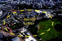 Les contours d'un ancien cratère volcanique découvert en avril dernier en pleine centre-ville d'Auckland (source photo : GNS Science)