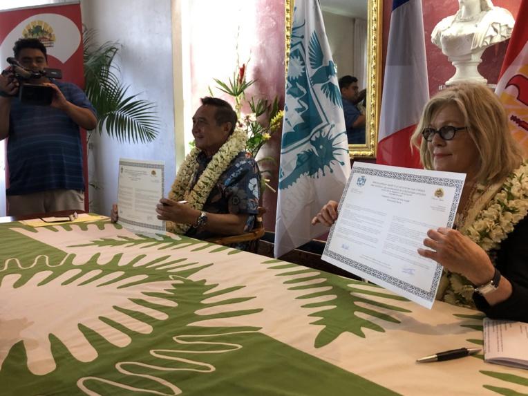 Sonia Lagarde et Michel Buillard respectivement maire de Nouméa et de Papeete.