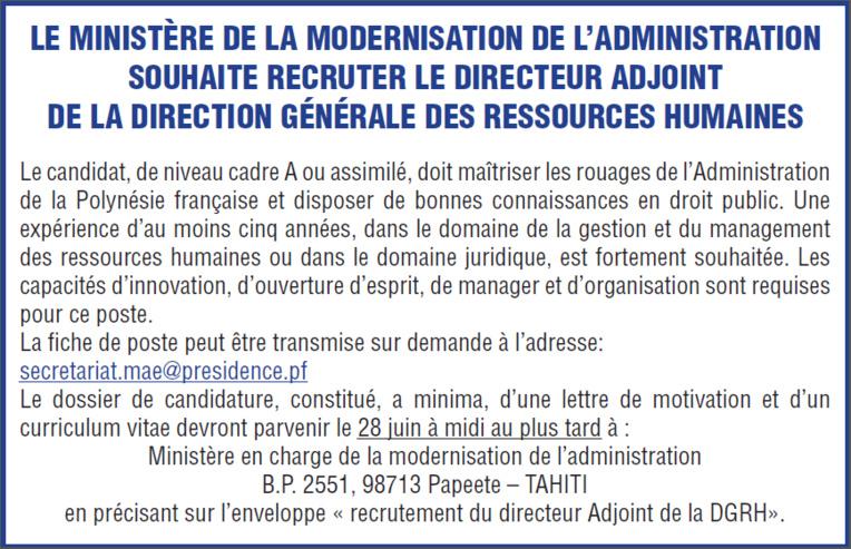 Appel à candidature - Directeur adjoint de la Direction Générale des Ressources Humaines