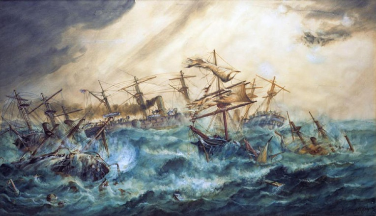 This painting depicts the chaos in the port of Apia during the cyclone.