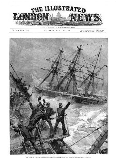 "On the cover of the English ""The Illustrated London News"" magazine, this engraving shows the HMS Calliope hailed upon its release from the port by the crew of a ship about to sink."