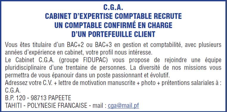 Offre d'emploi - Comptable confirmé en charge d'un portefeuille client