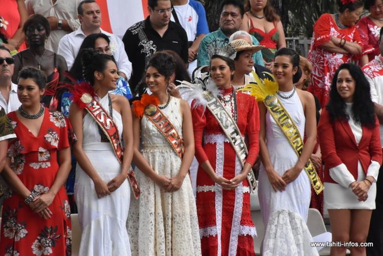 Miss Tahiti 2019 et ses dauphines étaient de la fête, samedi.