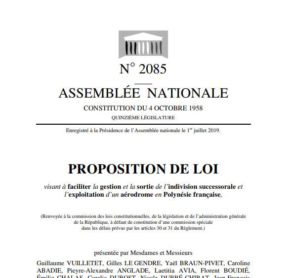 """La proposition de loi """"visant à faciliter la gestion et la sortie de l'indivision successorale et l'exploitation d'un aérodrome en Polynésie française""""  sera examinée en commission le 9 juillet."""