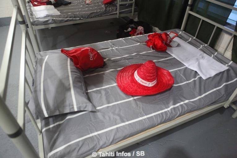 Les lits des chambres de la délégation de Tahiti