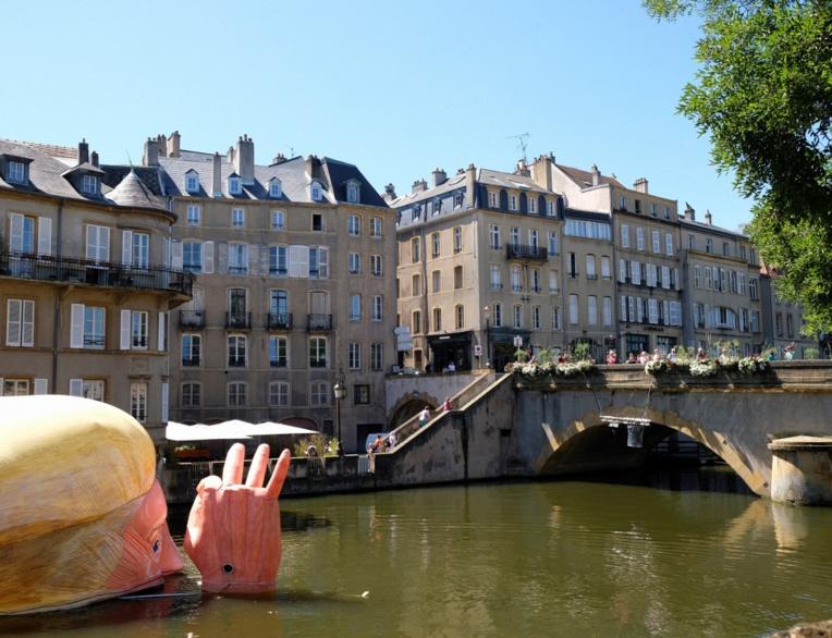 Metz: la tête de Trump dans la Moselle pour dénoncer son climatoscepticisme