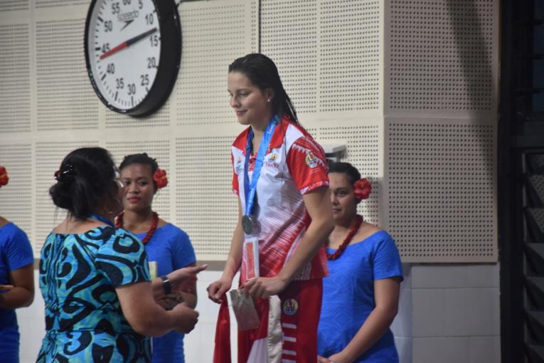 Angéline Tregoat a terminé deuxième sur le 200 m dos. La Tahitienne est devancée par une Samoane.
