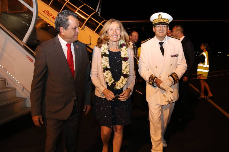 Edouard Fritch, président du Pays, la ministre de la Justice, Nicole Belloubet et le secrétaire général du Haut-commissariat, Eric Requet