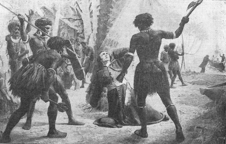Le massacre de l'évêque, tel qu'il a été décrit à l'époque du drame. Les coups de casse-tête assénés par derrière ne lui laissèrent aucune chance.