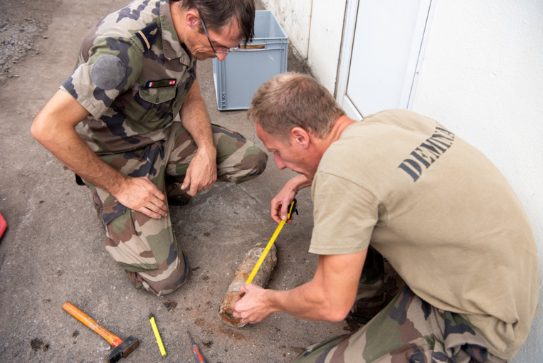 L'obus a été découvert, ce mercredi matin, lors de travaux de voirie réalisés sur la Base navale de Papeete.