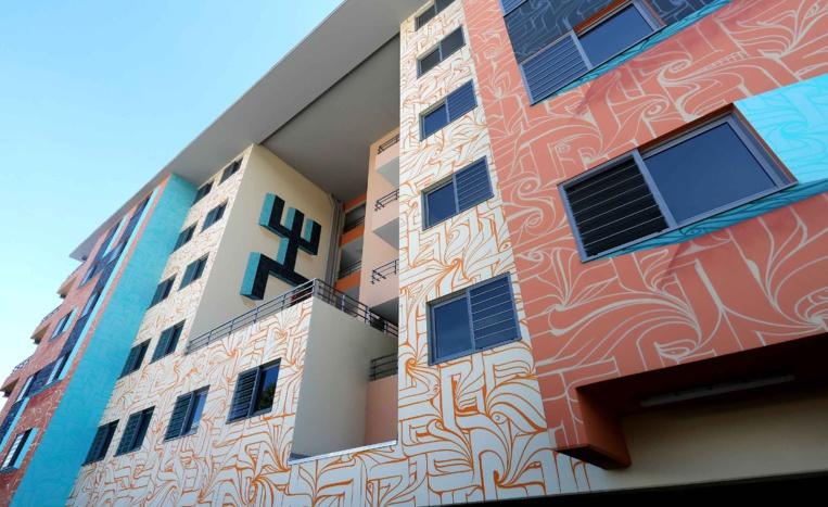 La fresque a été réalisée par Astro, un street-artist connu pour ses trompes-l'œil colorés aux lignes épurées. Il a été secondé par les artistes polynésiens Deraj et Savaj.