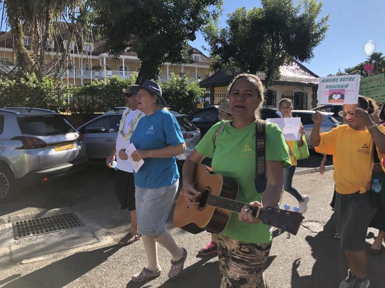 Certains ont entonné des chants lors de cette marche.