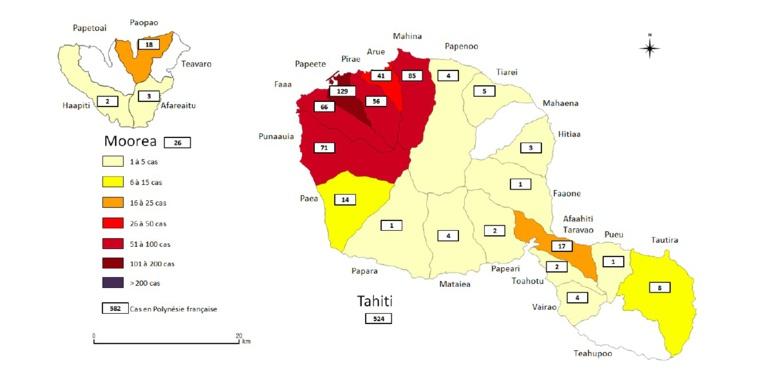 Le nombre de cas de dengue 2 recensés à Tahiti du 10 février au 2 septembre 2019.
