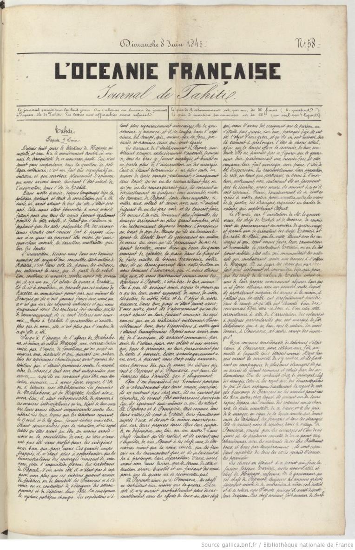 L'antépénultième exemplaire de L'Océanie Française, daté du 8 juin 1845 et portant le numéro 58.