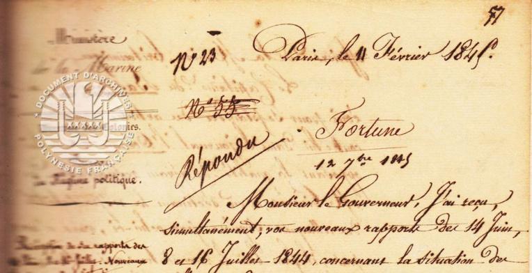 Les archives de la Polynésie française ont conservé la lettre du ministre des Colonies demandant à Bruat de fermer le journal L'Océanie Française.