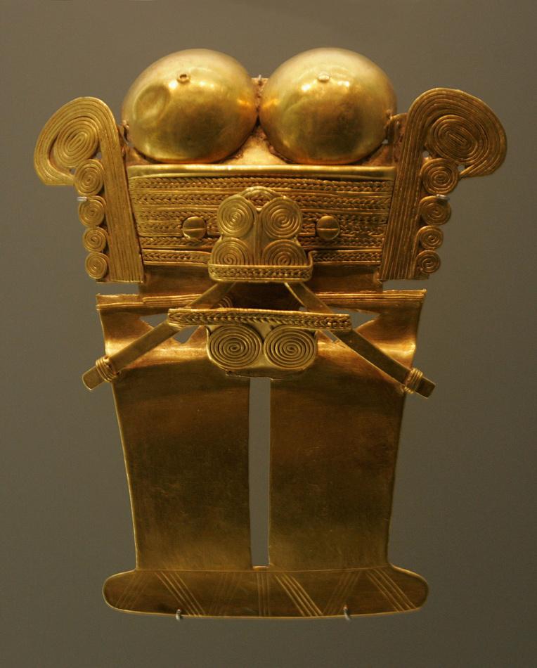 La culture Tairona a fourni des pièces d'une remarquable facture, mêlant différentes techniques métallurgiques, comme le procédé de moulage à la cire perdue.