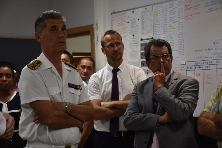 Le haut-commissaire, Dominique Sorain, son directeur de cabinet, Christophe Deschamps et le président du Pays, Edouard Fritch.