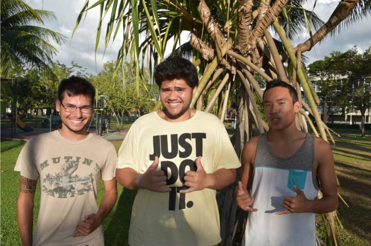 Trois des quatre mousquetaires de l'épopée climatique : Antoine, Heimanu et Jason.