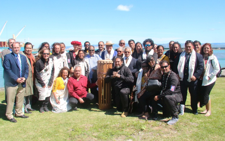 Une grosse délégation polynésienne, menée par Edouard Fritch, était présente à Gisborne. Crédit Présidence de la Polynésie française.