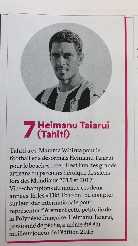 Taiarui, « légende du beach soccer » pour France Football