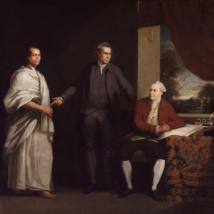 Le Tahitien Omaï, que Furneaux avait ramené en Angleterre ; il est ici représenté en compagnie de sir Joseph Banks et de Daniel Solander par le peintre William Parry.