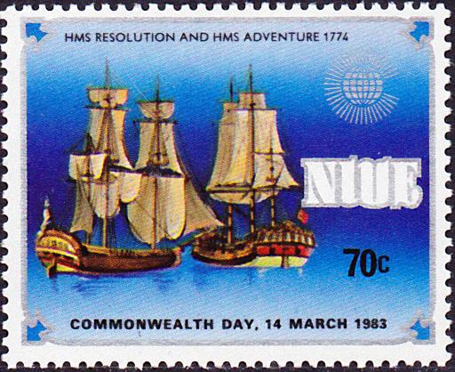 Un timbre de Niue rend hommage à ce second voyage de Cook.