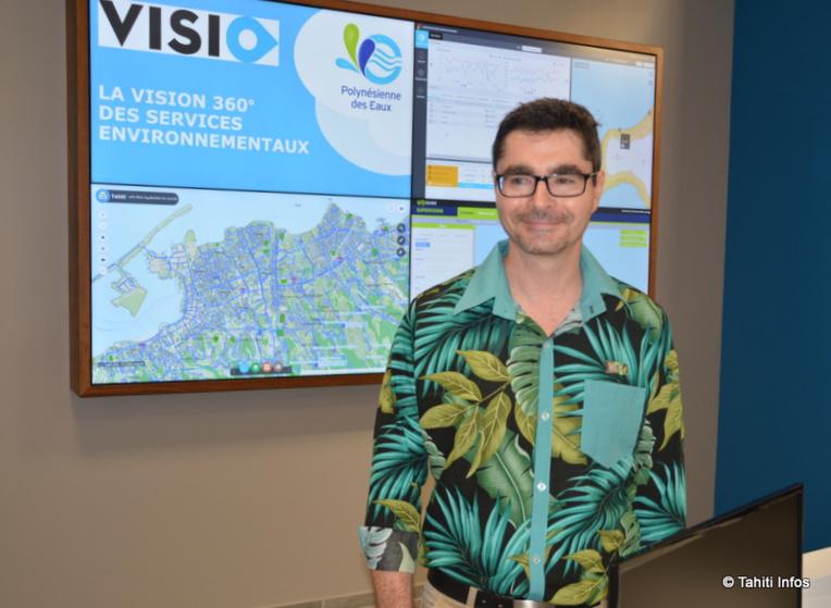 Le centre VISIO permet d'afficher en direct l'état des réseaux d'eau et des installations techniques de la Polynésienne des Eaux.