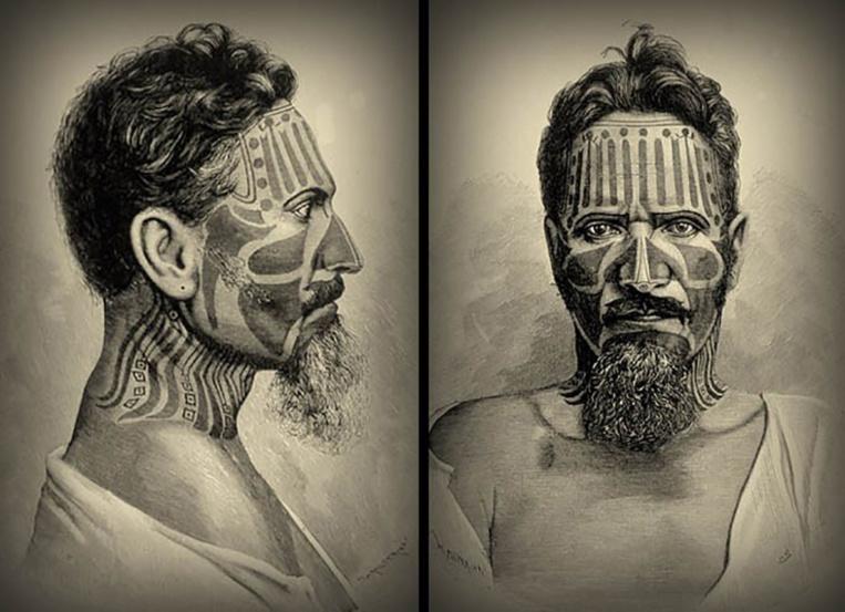 Dans le triangle polynésien, les Pascuans, à l'est, étaient porteurs de très nombreux tatouage, les hommes comme les femmes.