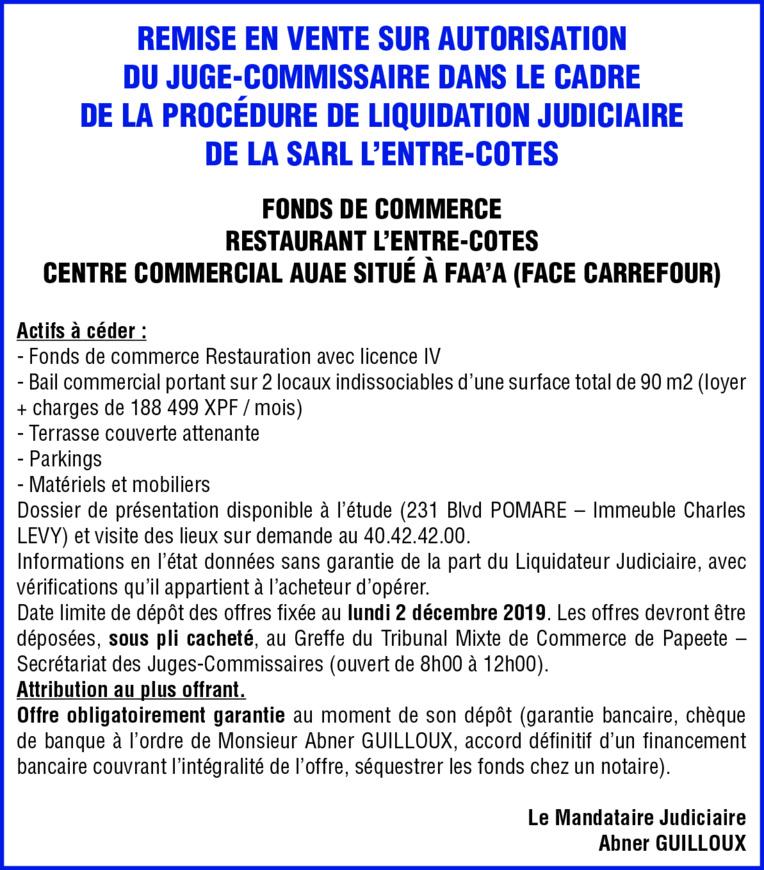 """REMISE EN VENTE SUR AUTORISATION - FONDS DE COMMERCE """"RESTAURANT L'ENTRE-COTES"""""""