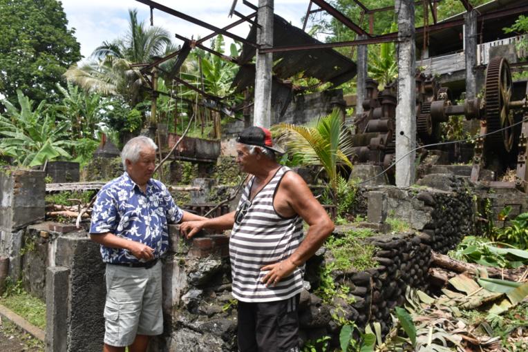 Philippe Siu et Hubert Royer, dit Dudul sur le site de l'ancienne rhumerie.