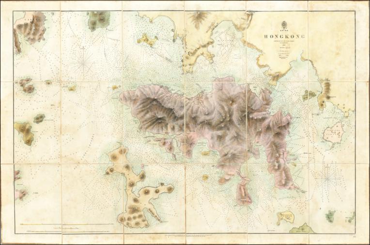 Cette carte de Hong Kong a été réalisée après la prise de l'île par les Britanniques, due en grande partie à l'intervention de Belcher et de ses hommes.