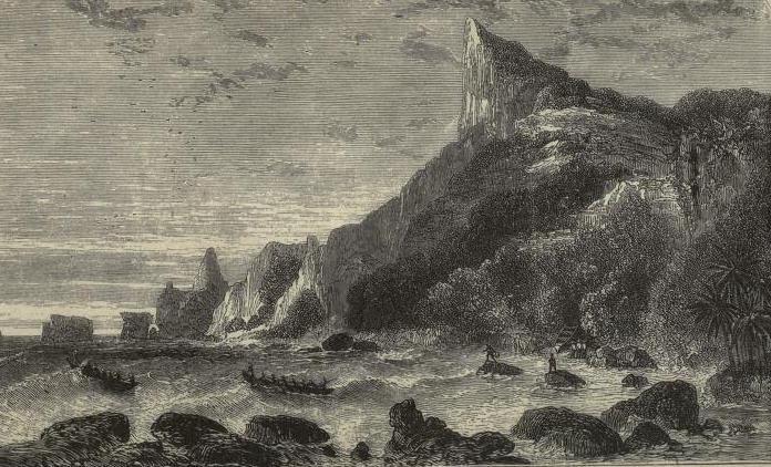 La bay of Bounty à Pitcairn, où ancra Belcher en 1825, escale qui permit à son ex-femme, lady Diana Belcher, de publier un récit détaillé de la mutinerie de la HMS Bounty en 1789.
