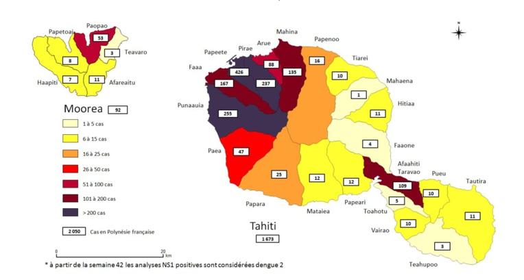 Répartition des cas de dengue 2 du 10 février au 17 novembre 2019 dans les îles du Vent.