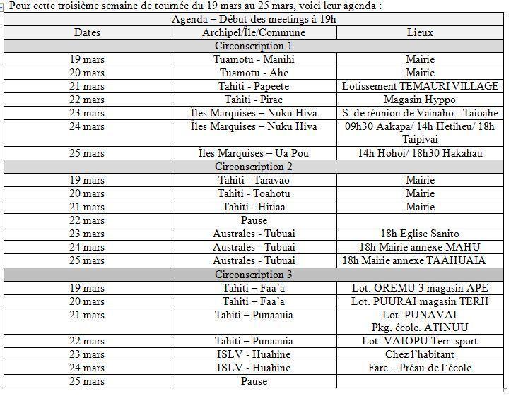 Programme des tournées de la troisième semaine du 19 au 25 mars pour le vote en faveur de François Hollande