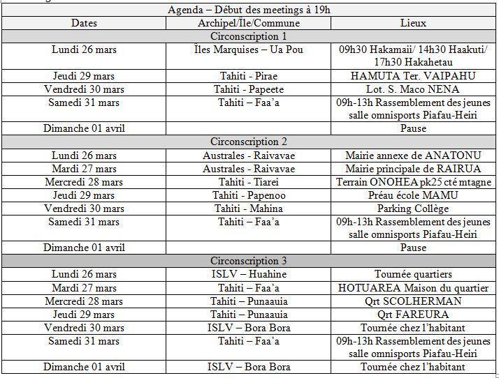 TAVINI: Programme des tournées de la quatrième semaine du 26 au 31 mars pour le vote en faveur de François Hollande
