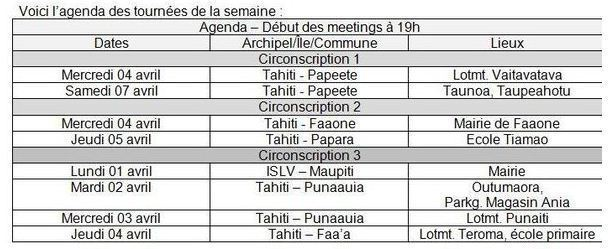 TAVINI: programme des meetings en faveur de Hollande