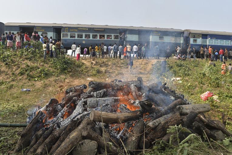 Inde: deux éléphants tués par un train et incinérés