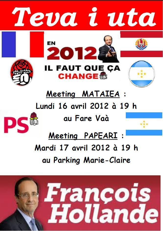 Le Tavini organise un meeting en faveur de François Hollande les 16 et 17 avril à Teva i Uta
