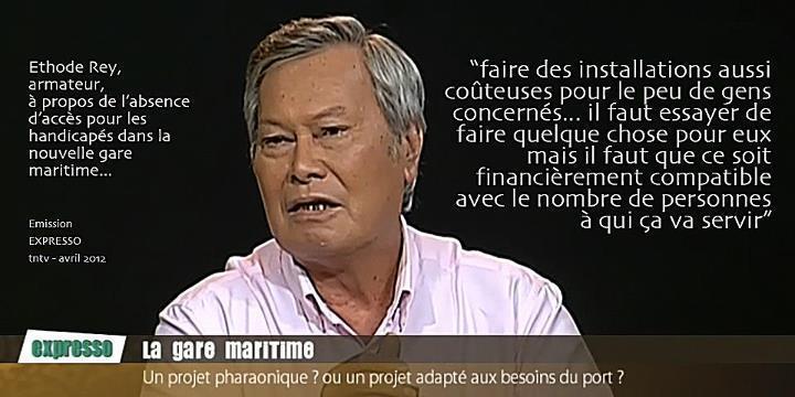 Gare Maritime : Ethode Rey déplore que ses propos aient été sortis de leur contexte