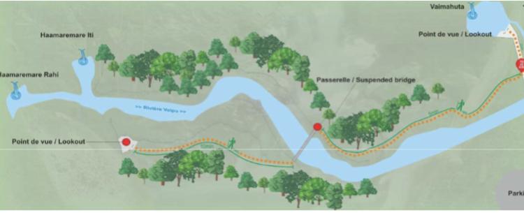 Les intempéries entre 2015 et 2017 ont provoqué la destruction d'une grande partie des cheminements piétons sur le site des Trois cascades à Tiarei.