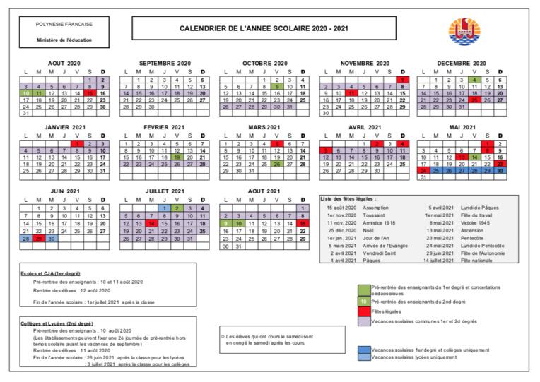 Les calendriers scolaires 2020-2023 dévoilés