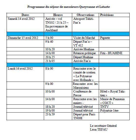 PS: Programme du séjour de Mrs Queyranne et Lataste du samedi 14 avril au lundi 16 avril.