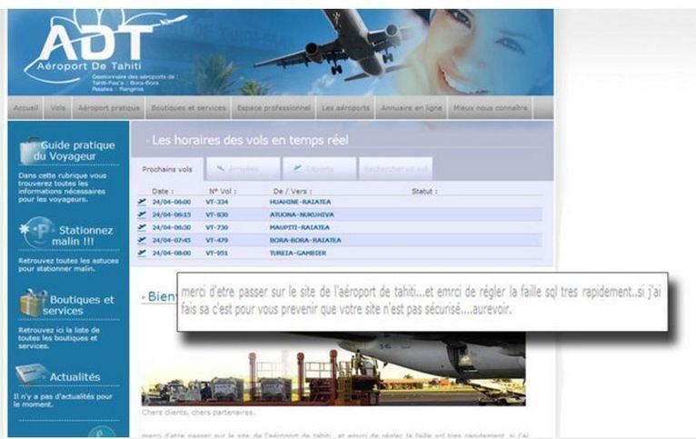 """Piraté, le site de l'aéroport de Tahiti annonce la disparition de """"Sarkosy"""""""