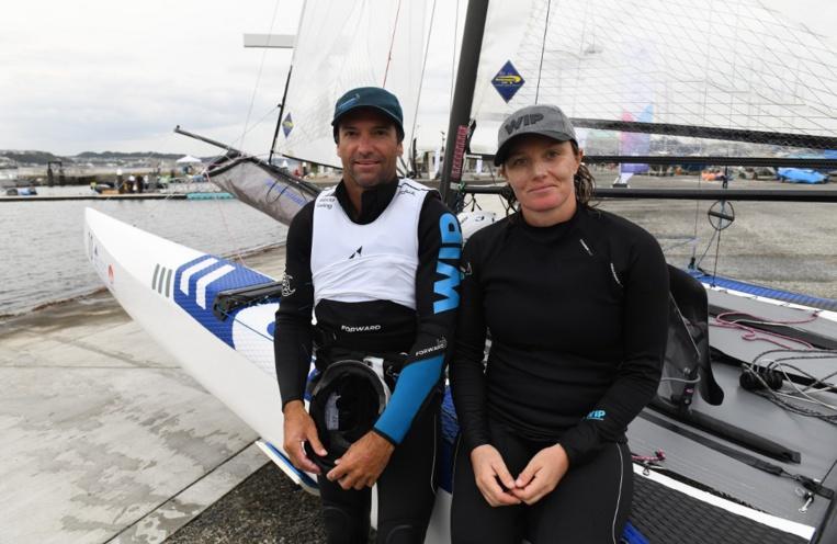 Avec sa partenaire Marie Riou, le voileux de Arue avait terminé sixième des Jeux olympiques de Rio en 2016 en Nacra 17. (photo : AFP)