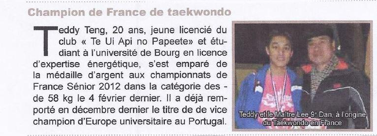 Championnat de France de TAEKWONDO: les benjamins et les minimes polynésiens partent pour Orléans