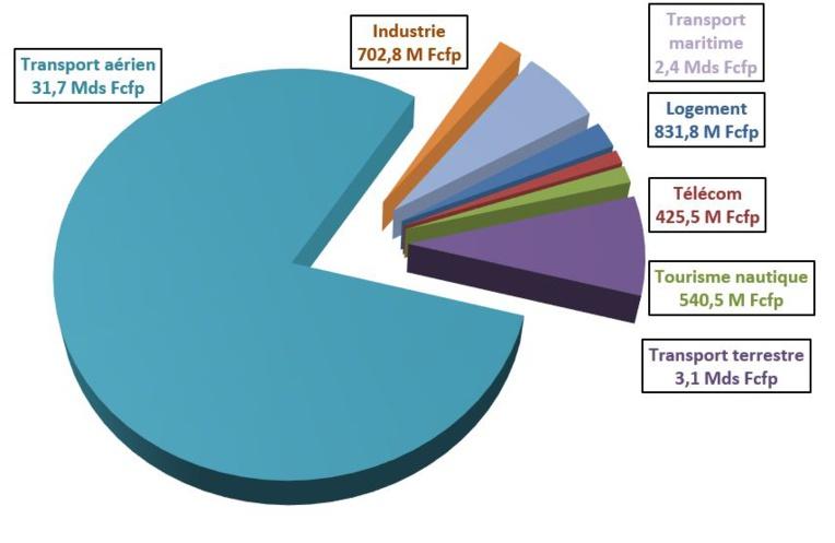 Récapitulatif des investissements d'entreprises polynésiennes ayant bénéficié d'une aide fiscale nationale en 2019, par secteur d'activité.