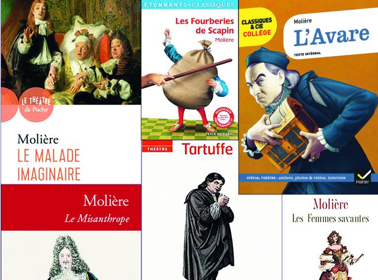 L'œuvre de Molière consiste en une trentaine de comédies en vers ou en prose. Il y a notamment Le Malade imaginaire, Le Tartuffe ou l'Imposteur, l'Avare, le Bourgeois gentilhomme, Les Femmes savantes…