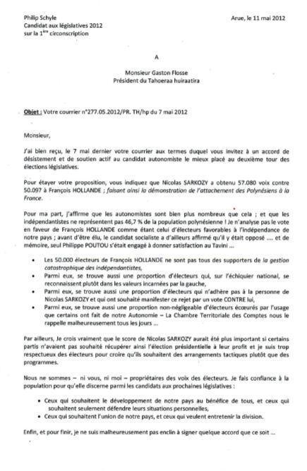 Union des autonomistes: Philip Schyle répond à Gaston Flosse